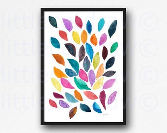 Abstract Leaf Painting Print Watercolor Print Autumn Fall Leaves Leaf Art Nature Print Watercolor Home Decor Unframed