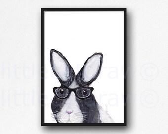 Peeking Nerd Bunny Rabbit Wearing Glasses Watercolor Painting Art Print Illustration Art Drawing Print Watercolour Wall Art Watercolor