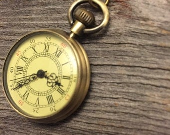 Pocket Watch Necklace, Clock Necklace, Double Clock Necklace, Bronze Pocket Watch Necklace, Gold Pocket Watch, Gift For Her,Best Friend Gift