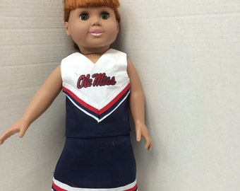 Ole Miss Cheerleader Outfit for 18 inch doll