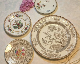 Vintage decorative wall plates, Instant wall art display. Cope land Spode india tree and Peplow, h and k Tunstall and Aynsley.