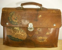 Vtg Depression Era Advertising Leather Attache Salesman Briefcase Messenger Bag Swedish American Line & Svenska Amerika Linien Shipping