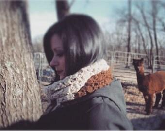 Alpaca Infinity Scarf Color Block Crochet Beige and Brown Extra Wide