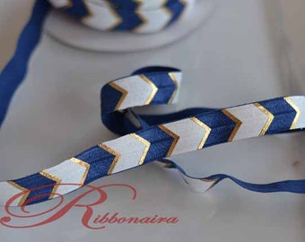 "Navy  Gold chevron FOE..Mix &MATCH Fold Over Elastic 1,5 or 10 yards , 5/8"" Fold Over Elastic, Foil  Elastic , headband , hair ties"