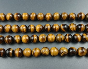 A natural yellow tiger eye beads, natural gemstone beads, polished round tiger eye beads wholesale 6mm 8mm 10mm 12mm15'' strand