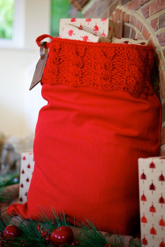 Beautiful Christmas Santa Sack with Red Cable Knit by SantaSacks