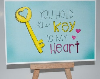 """SALE """"Key to My Heart"""" Illustrated Print 75% OFF"""