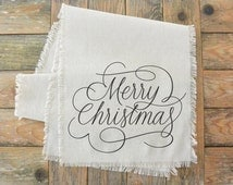 Merry Christmas Script Table Runner_Christmas, winter, table setting, tableware, place setting, housewarming gift, party, dinner, event