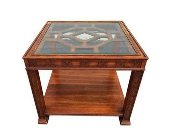 ON SALE Fretwork Chippendale Chinoiserie Side Table | Hollywood Regency Side Table | Chinese Chippendale SIde Table | Palm Beach Regency Tab
