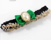 CUSTOM GARTER Chelsea....... Black and Green Wedding Garter Pearl Garter 123 Black-684 Emerald Green Kelly Gold Prom Garter