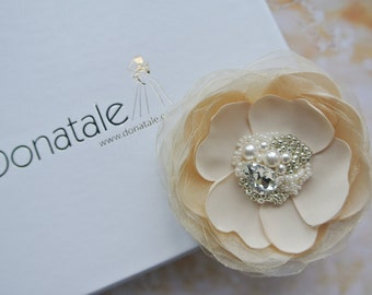 Ivory Champagne  Flower  Hair Clip - Wedding Hair Flower - Wedding Hair Piece - Bridal hair piece - CELIA