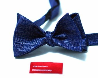 Silk SELF TIED Bow Tie in Cornflower or Horizon Blue and Navy