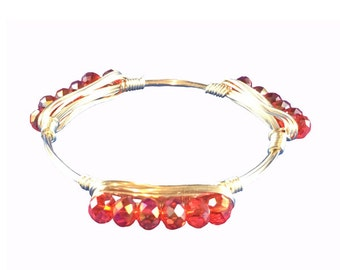 Red Chinese Crystal Wire Bangle