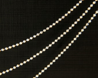 Chain 1.0 ball DC, Nickel free, CJ04-02, 10m, 1.0mm Ball chain, Original rhodium plated brass, design chain, jewelry component, 1mm