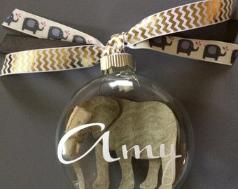 Personalized Elephant Ornament-Animal Ornament-Personalized Gift