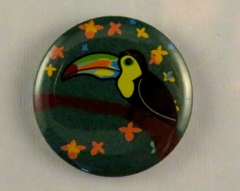 "Tropical bird ""Toucan"" 25mm (1 inch) illustrated badge"