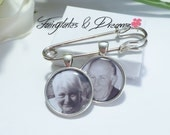 Boutonniere Photo Charm - Grooms Buttonhole, NOT DIY, Memorial Charm for Groom - Lapel Photo Charm