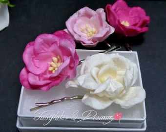 Pink Mix Magnolia Bobby Pins, Hair Grips, Hair Pins, Hair Accessories For the Bridesmaids, UK