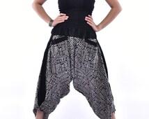Black Traditional Stones Printed Samurai Pants, Trouser, Baggy pants, Yoga pants, 100% Cotton(Unisex) One Size Fits All..New