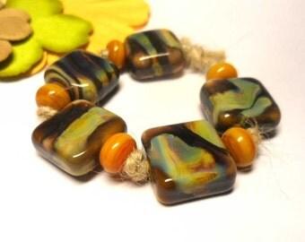 Lampwork  Glass bead handmade  Beads mustard  yellow  brown.