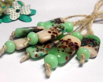 Lampwork  Glass bead handmade  Beads green  light green  beige  brown.