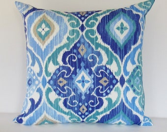 Blue Outdoor Pillow Cover Cobalt Teal Decorative Throw Accent Patio Porch Sunroom Pillow 16x16 18x18 12x16 12x18 Lumbar Zipper Blue White