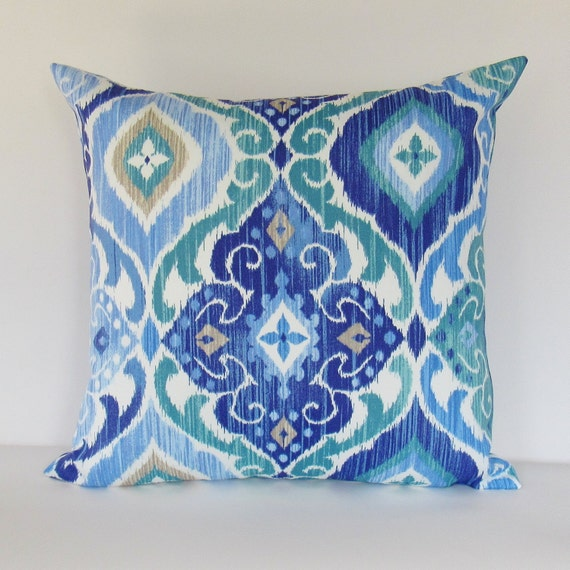 blue outdoor pillow cover cobalt teal decorative throw accent