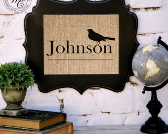 PERSONALIZED BURLAP Wall Art Wedding Gift- FREE Print with purchase of frame -Family Name Sign with Bird Silhouette
