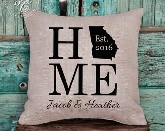 Georgia Home Pillow,  GA Home Pillow, State Outline Pillow, State Pillow, Home Burlap Pillow, Georgia Burlap Pillow
