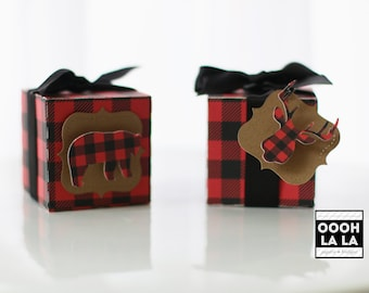 MADE TO ORDER Buffalo Plaid, Lumberjack themed Favor Boxes with or without tag- set of 6 or 12