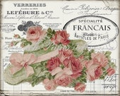 Shabby Chic Vintage Digital Roses, French Rose Digital Paper, French Art Printable, French Pillow Transfer Graphic