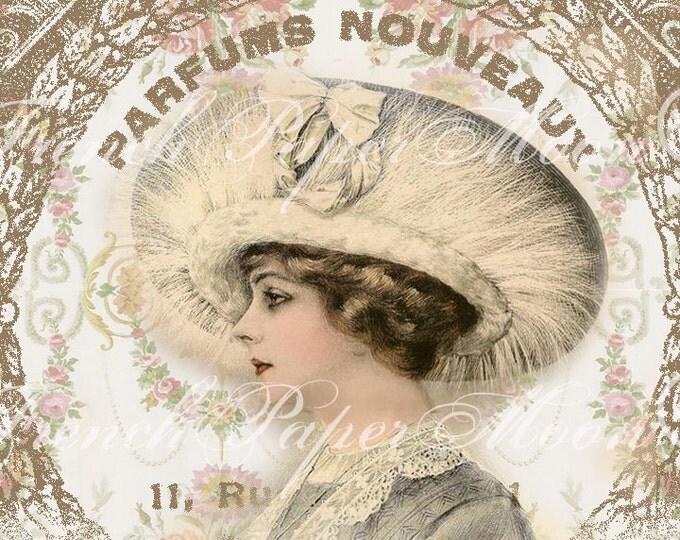 Vintage Digital Elegant Woman, French Perfume Digital Art,  French Art Nouveau, Instant Download Image Transfer Printable