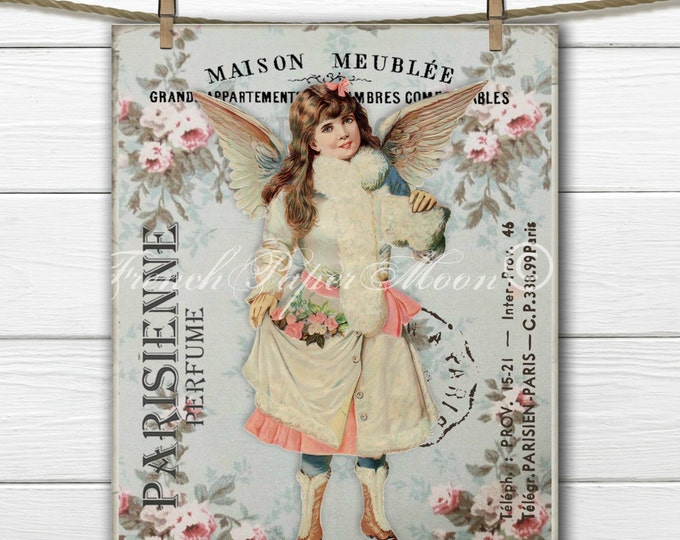 Shabby Chic Victorian Angel Download, Printable Vintage Angel Digital Art, French Angel Pillow Image