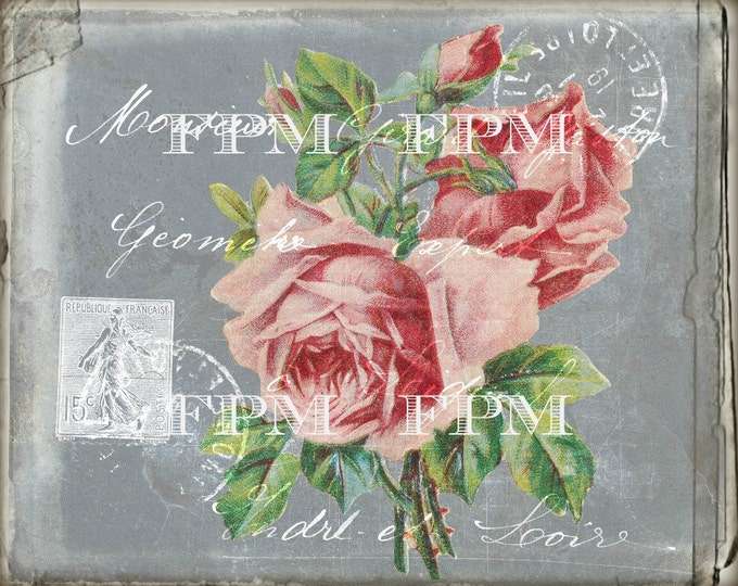 Vintage French Digital Postcard with Shabby Roses, French Graphics, Chalkboard, Digital Transfer, French Pillow Graphic