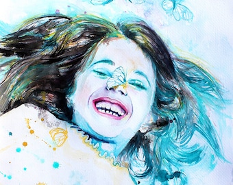 Original Watercolor Painting . Girl Portrait painting of smiling child with butterflies. Colorfull. Just smile wiht love.