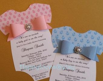 Babyshower onesie invitations, girl babyshowe, boy babyshower, teddy bear babyshower