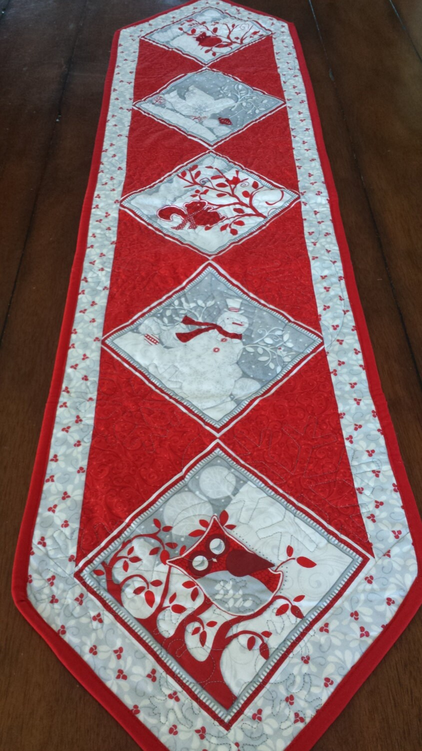 Red White And Silver Christmas Table Runners