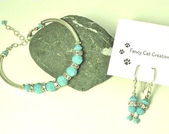 Sterling Silver Crystal Bracelet & Earring Set