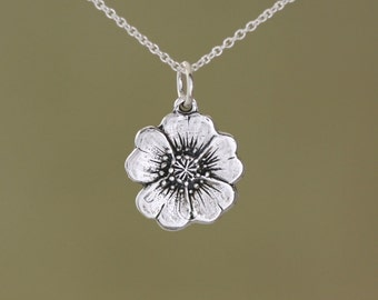 Sterling Silver Buttercup Charm – Sterling Buttercup Charm – Sterling Silver Charm Buttercup Jewelry – Silver Flower Charm – Flower Jewelry