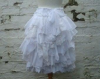 Tattered wedding skirt, bridal skirt, shredded short skirt, white skirt, repurposed wedding skirt