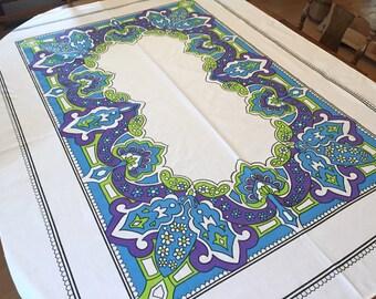 Vintage Printed Tablecloth,  Cotton, Purple Blue Lime White, Mod Retro Boho Kitchen,  52 x 68