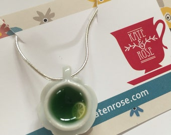 Miniature Teacup Necklace - Green tea - matcha tea - herbal tea - Kawaii Kitsch