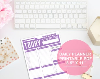 Daily Planner - 8.5X11 Digital File - Instant Download - Letter Size - DIY Planner - Printable Planner Sheet - Daily Organizer