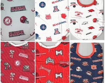 Handmade College Team Baby Bibs made with NCAA fabric
