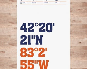 Detroit Tigers, Stadium Coordinates, Baseball posters