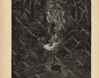 Antique Original Biblical Print by Gustavo Dore From Rare Milton's Paradise Lost -  Pain