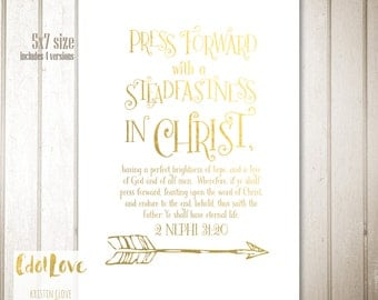 5x7 size 2016 Mutual Theme - Press Forward with a Steadfastness in Christ