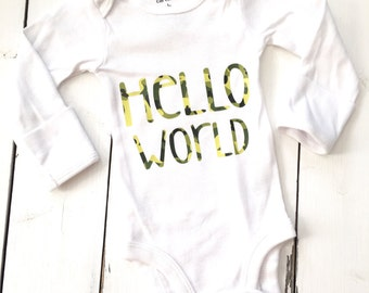 Hello world, coming home outfit, new baby boy, baby boy, baby shower gift, camouflage, camo