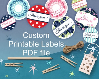 Custom Labels, Personalized Label, Cupcake Toppers, Custom Party Printables, Round label, PDF file, digital files