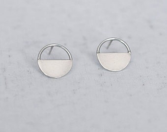 Minimalist Circle Stud Earrings - Handmade Simple Everyday Jewelry, Minimal Modern Sterling Silver Studs,  Gift for her